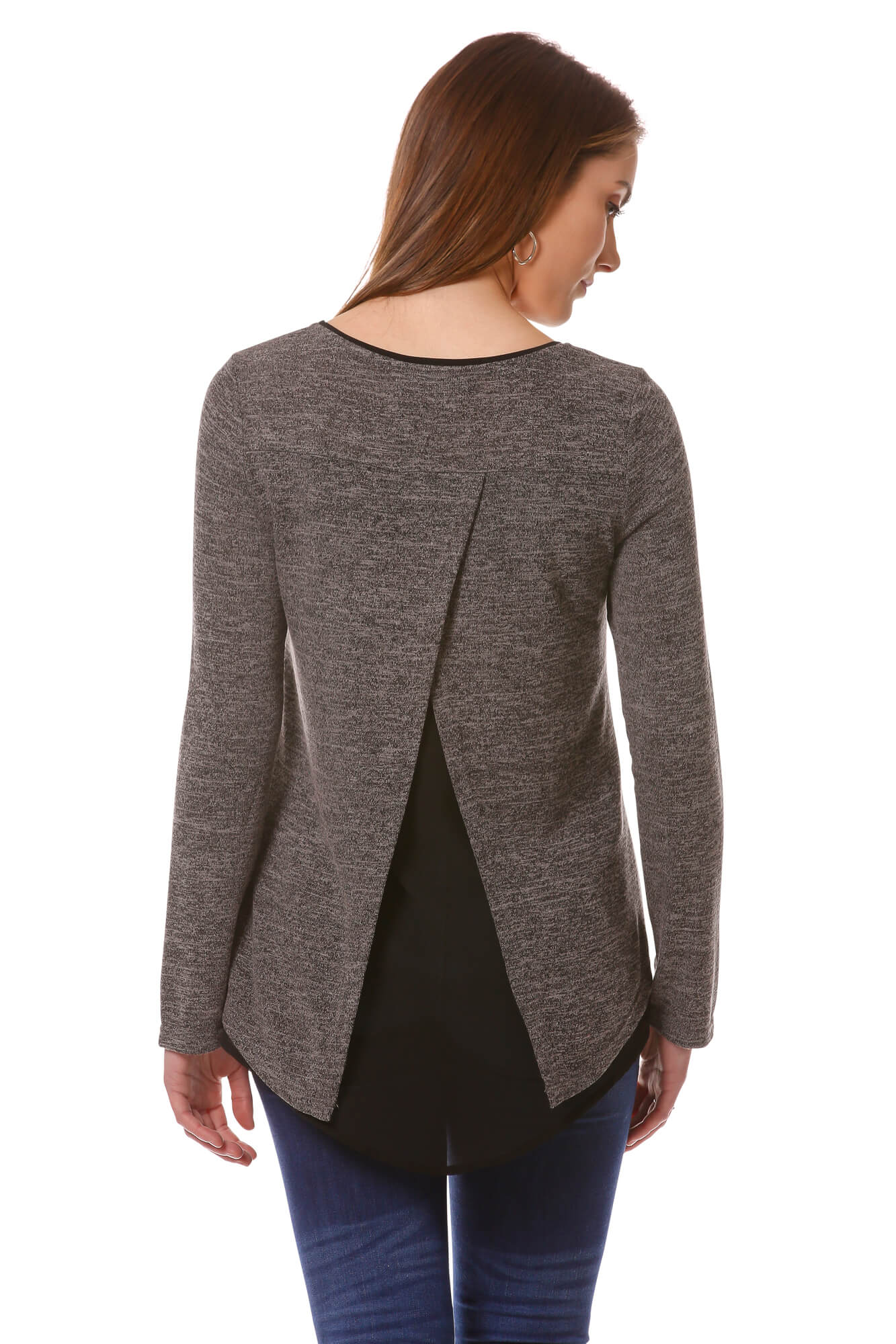 Women's Charcoal Open Back Layered Top | Cozy top for Fall/Winter | Neesha Fashion