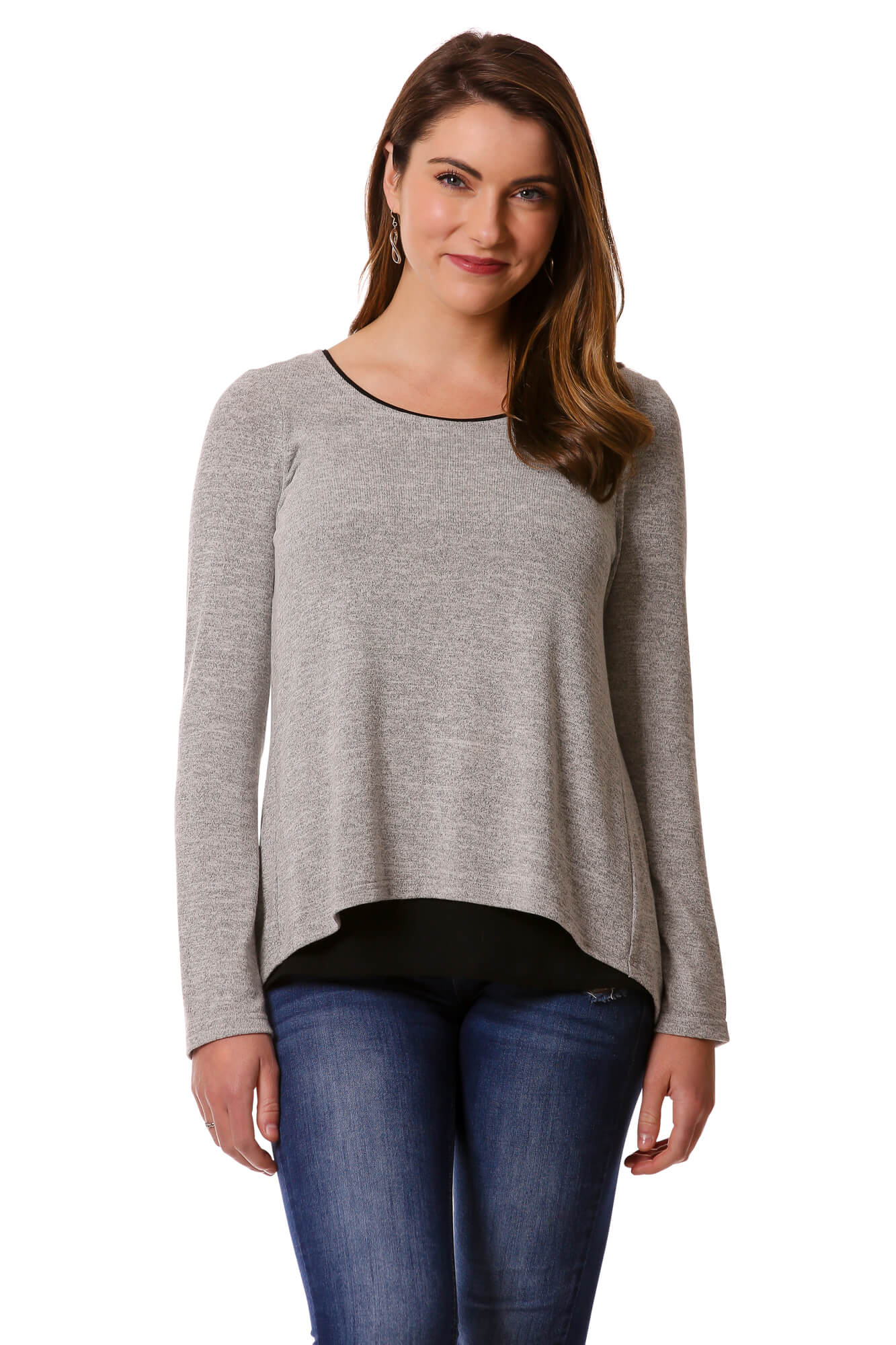 Women's Grey Open Back Layered Top | Cozy top for Fall/Winter | Neesha Fashion