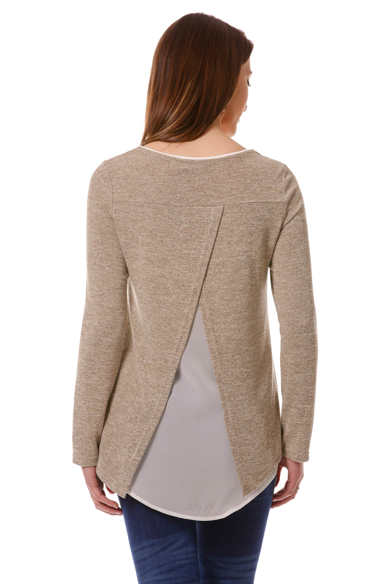 Women's Taupe Open Back Layered Top | Cozy top for Fall/Winter | Neesha Fashion