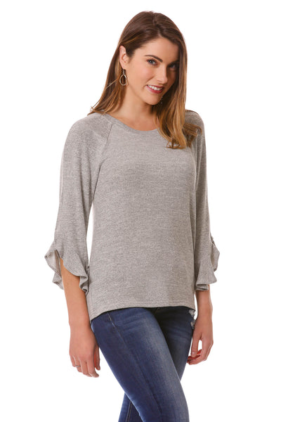 Women's Ruffle Sleeve Top | Basic Soft Scoop Neck Top | Neesha Fashion