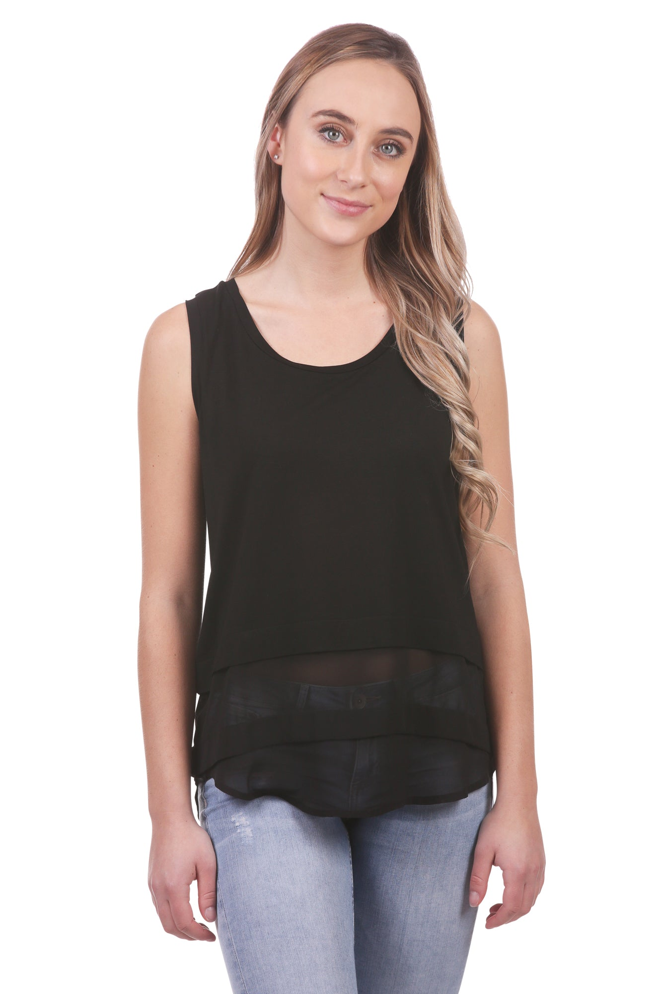 Women's Layered Chiffon Tank | Black and White Crop Tank Top | Neesha