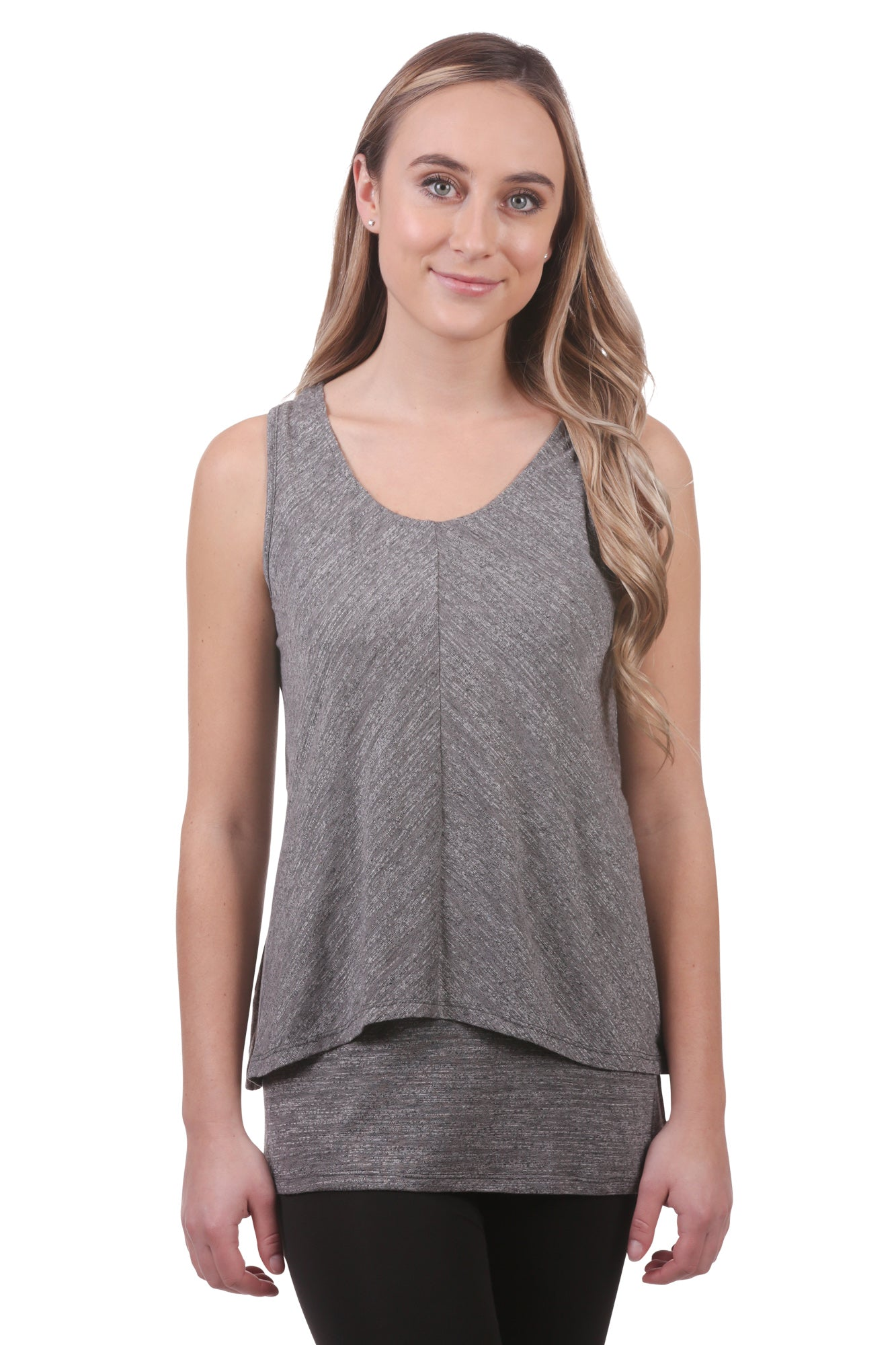 Women's Slub Double Layer Tunic | Grey Sleeveless Top | Neesha