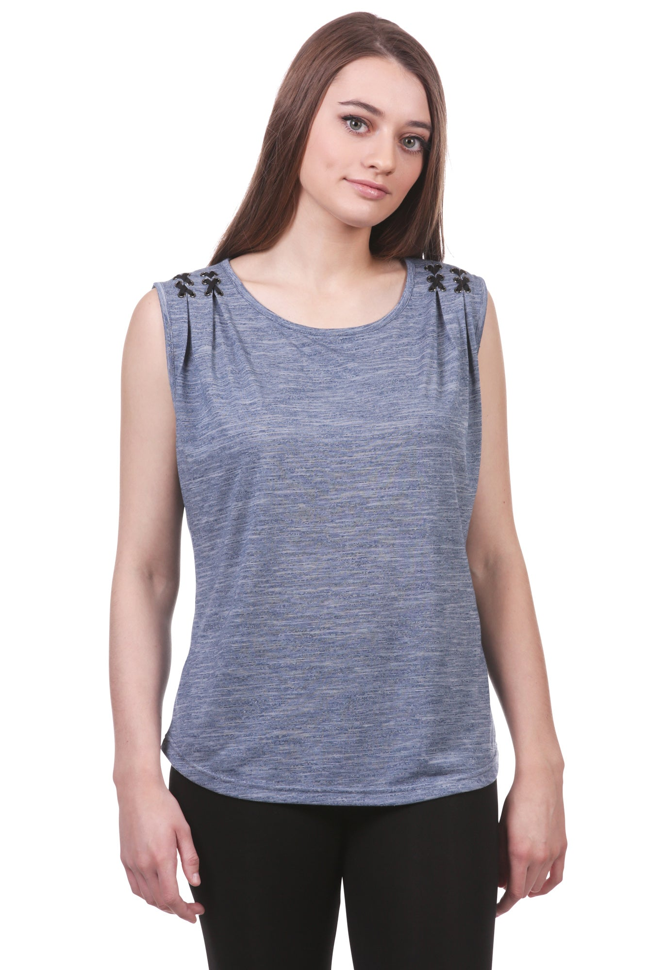 Women's Laced Pleated Shoulder Tank | Blue Summer Top | Neesha