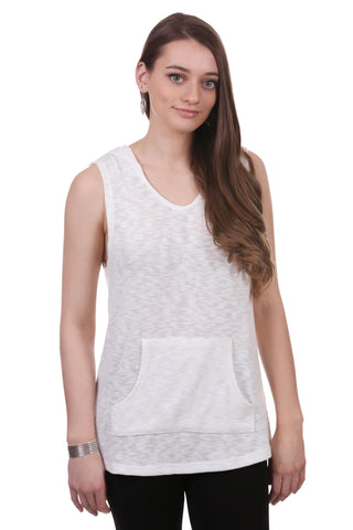 Gauzy Slub Sleeveless Hoodie with Kangaroo Pocket | White / Black Top