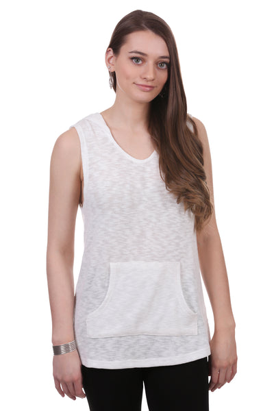 Gauzy Slub Sleeveless Hoodie with Kangaroo Pocket
