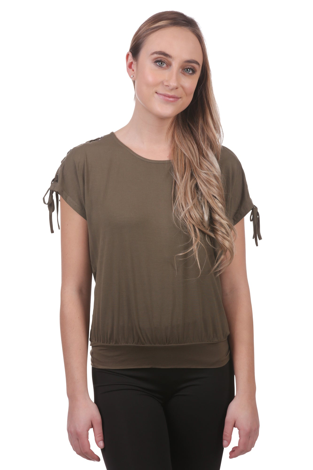 Laced Shoulder Grommet Top with Ties