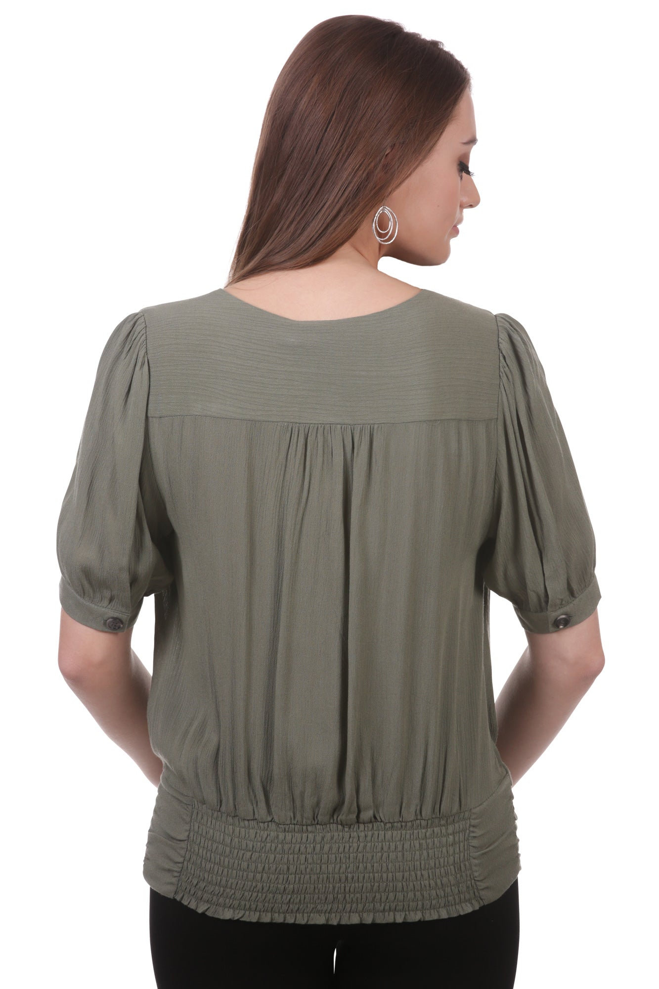 Button Surplice Top with Ruched Waistband
