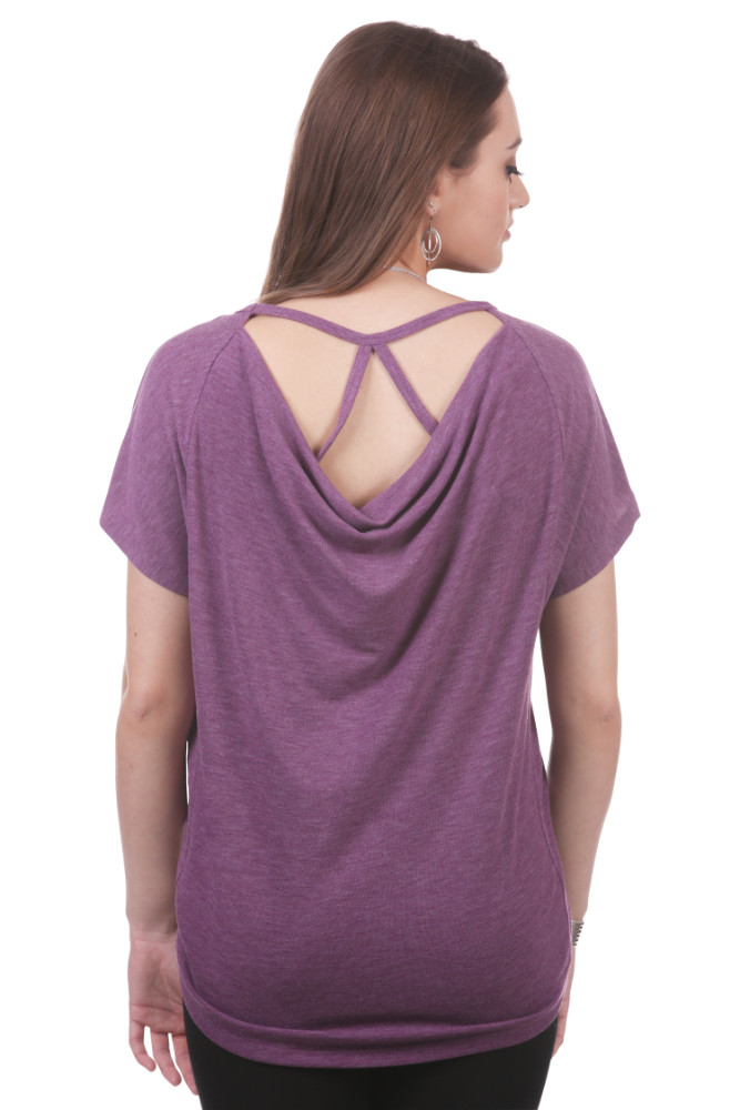 Cowl Back Top with Strap Detail