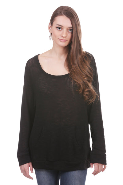 Gauzy Slub Slouchy Top with Kangaroo Pocket