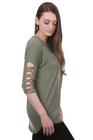 Criss Cross Sleeve Dolman Top
