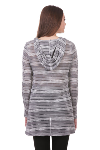 Striped High Low Hoodie