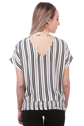Striped Surplice Top with Smocked Waistband