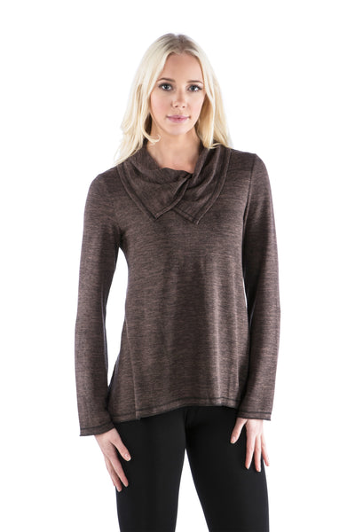 Double Split Cowl Neck Sweater Top - Brown Top