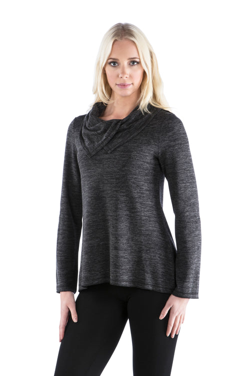 Double Split Cowl Neck Sweater Top - Charcoal Top