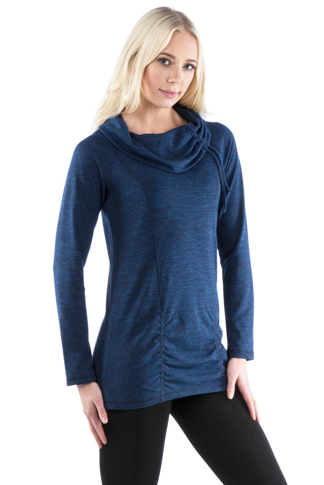 Neesha Womens Cowl Neck Ruched Tunic with Drawstrings in Blue