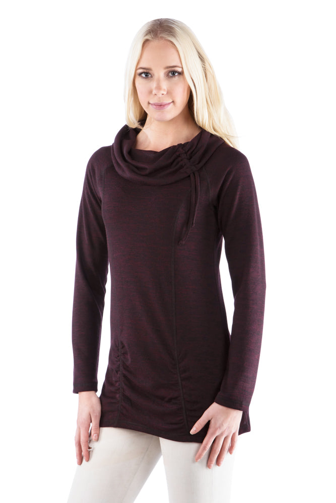 Cowl Neck Ruched Tunic with Drawstring