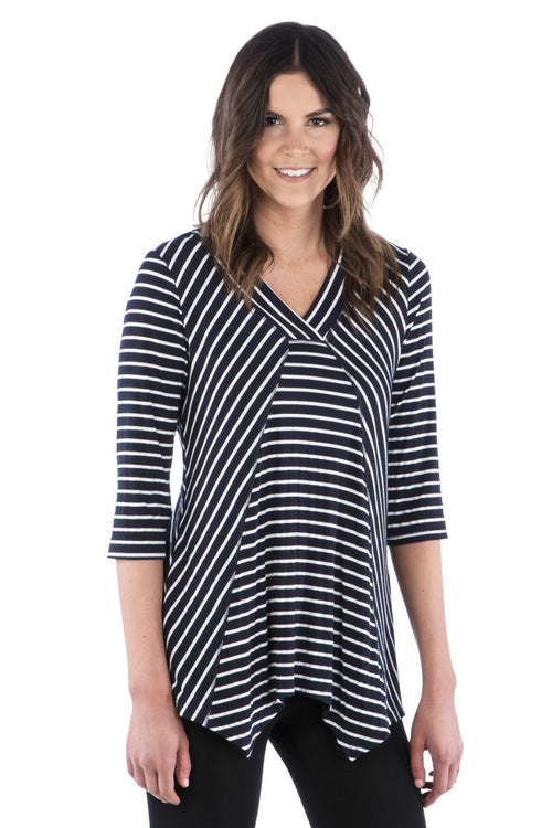 Striped Irregular Hem Tunic