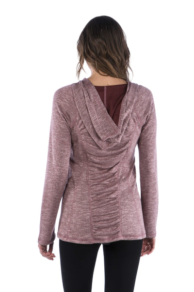 Slub Ruched Back Hoodie with Long Sleeves and Top Stitching- Maroon Sweater