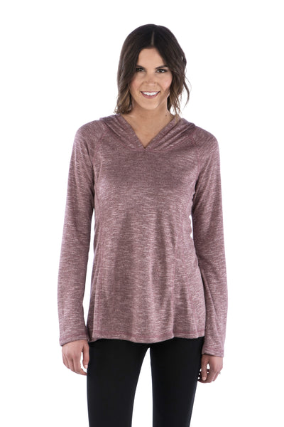 Slub Ruched Back Hoodie with Long Sleeves and Top Stitching - Maroon Sweater