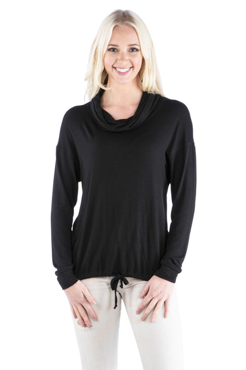 Cowl Neck Slub Top