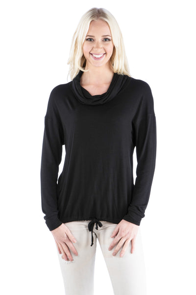 Cowl Neck Dolman Slub Top with Drawstring Waist, Black Top