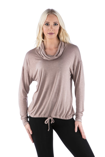 Cowl Neck Dolman Slub Top with Drawstring Waist, Coco Top, Beige Top, Taupe Top
