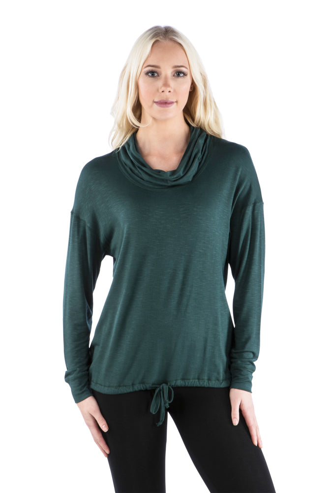 Cowl Neck Dolman Slub Top with Drawstring Waist, Green Top, Forest Green