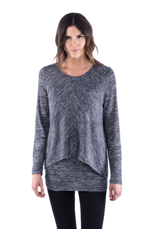 Striped Flattering Double Layer Tunic with Long Sleeves