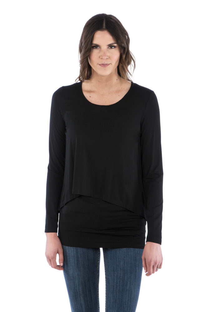 Flattering Double Layer Tunic with Long Sleeves - Black Top