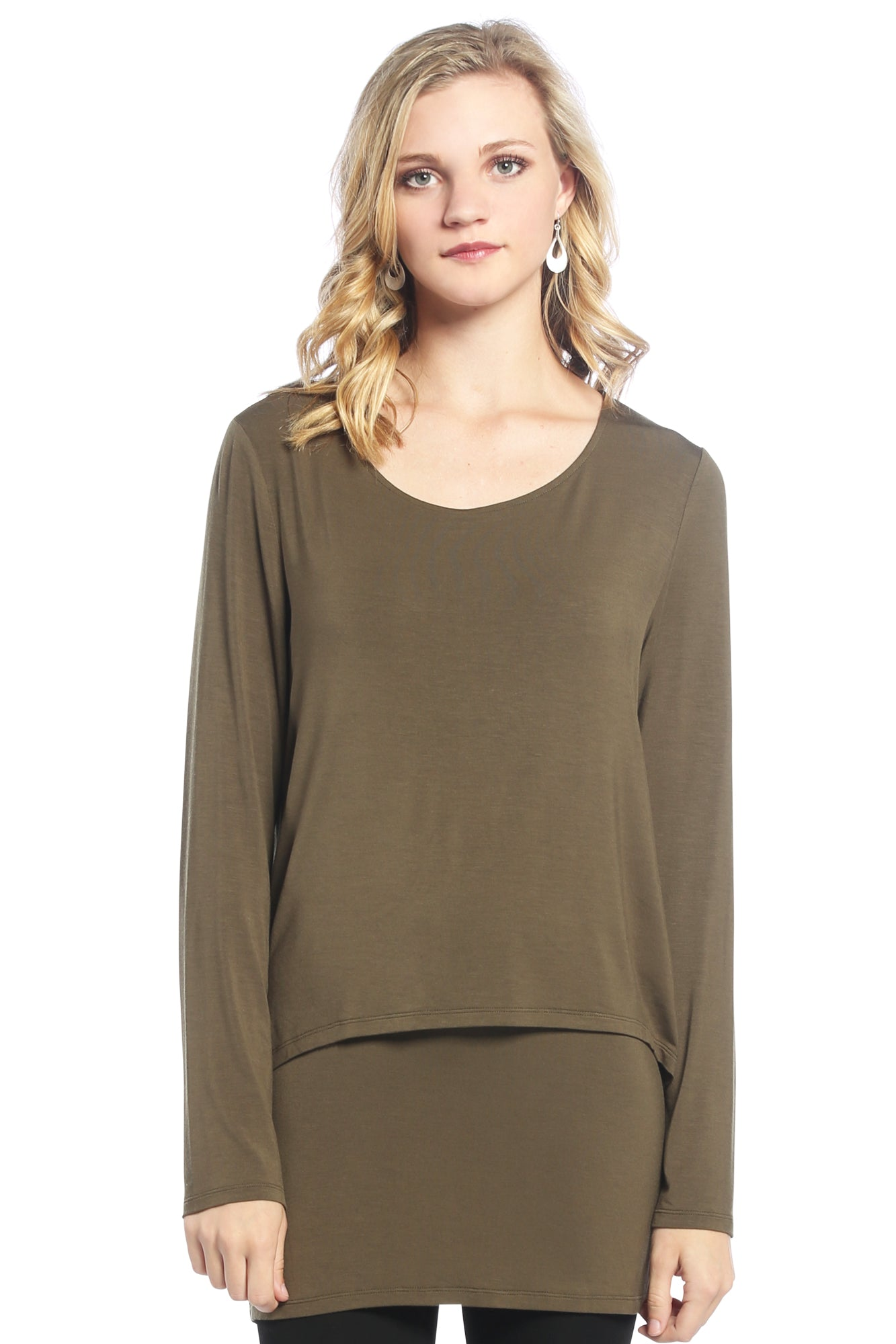 Flattering Double Layer Tunic with Long Sleeves
