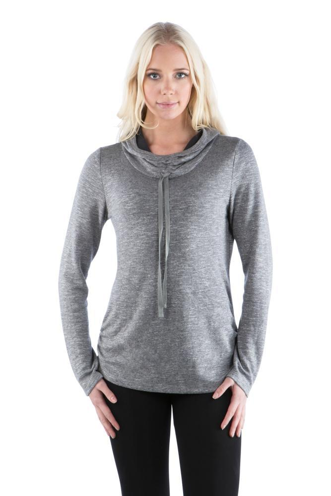 Cowl Neck Athleisure Hoodie with Drawstrings, Grey Hoodie, Charcoal Hoodie