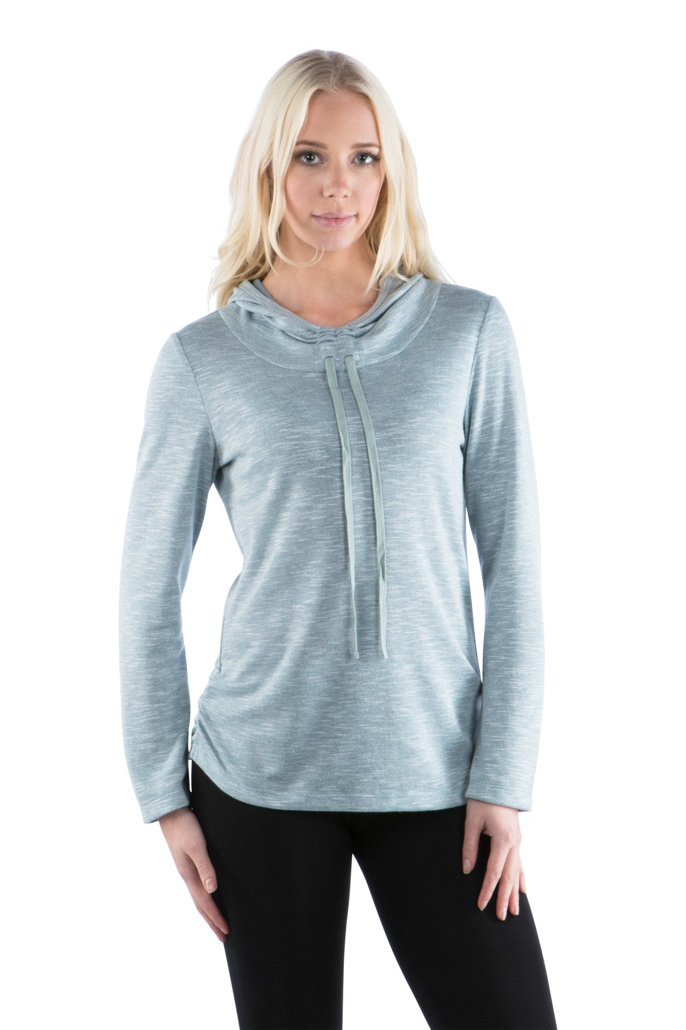 Cowl Neck Athleisure Hoodie with Drawstrings, Light Teal Hoodie, Blue Hoodie