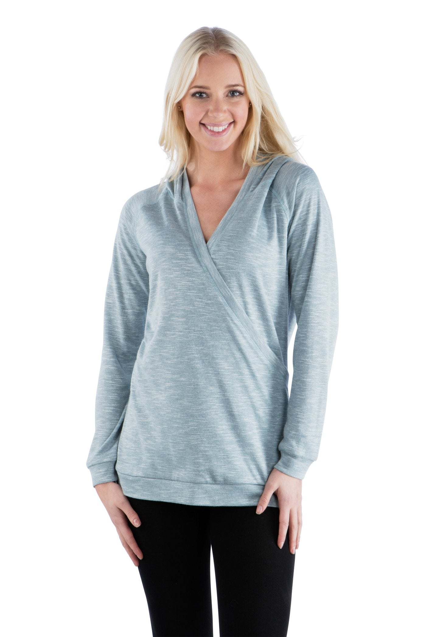Cross Over Wrap Hoodie with Long Sleeves - Light Teal Top, Blue Top