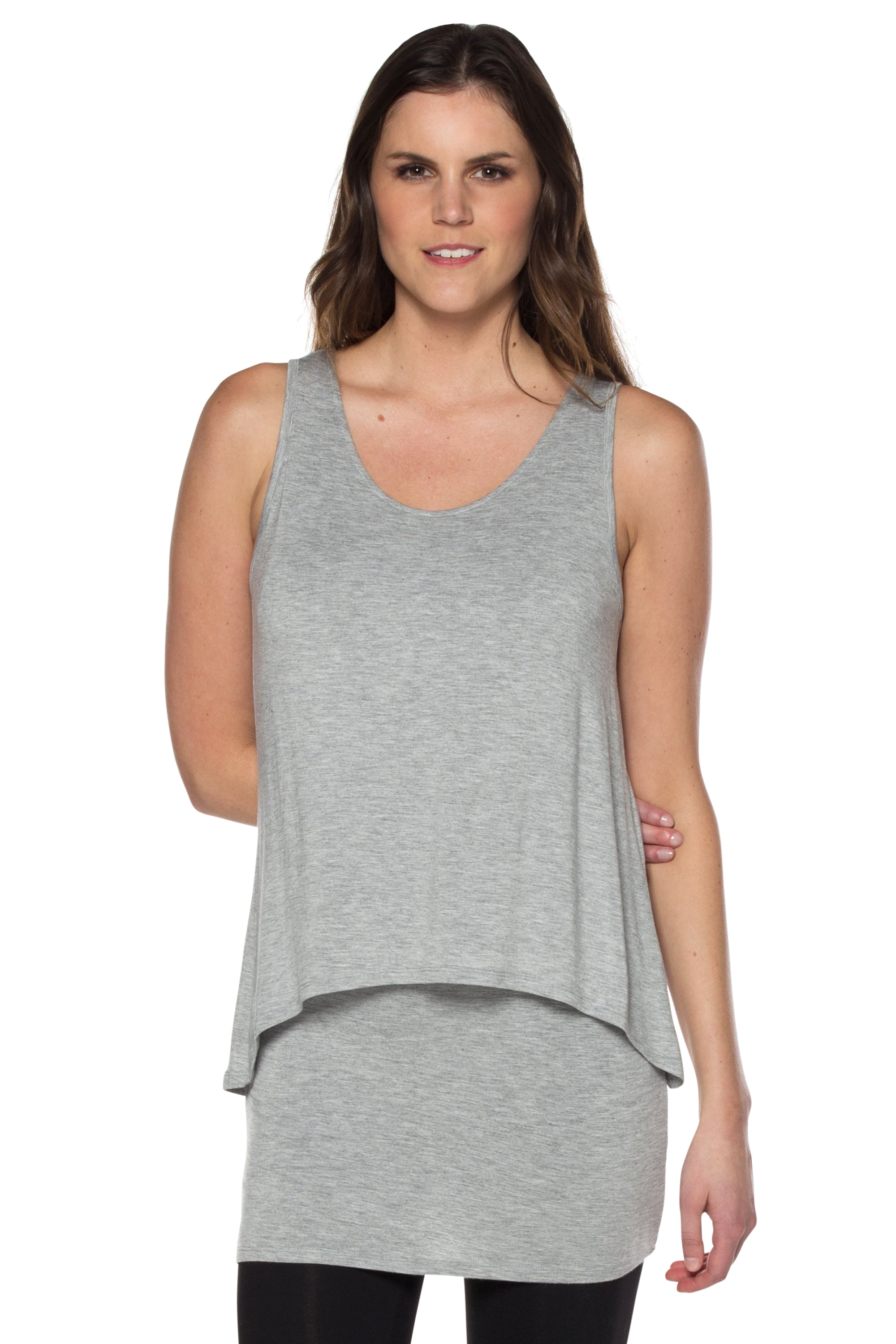 Neesha | Women's Basic Double Layer Tunic Tank in Grey
