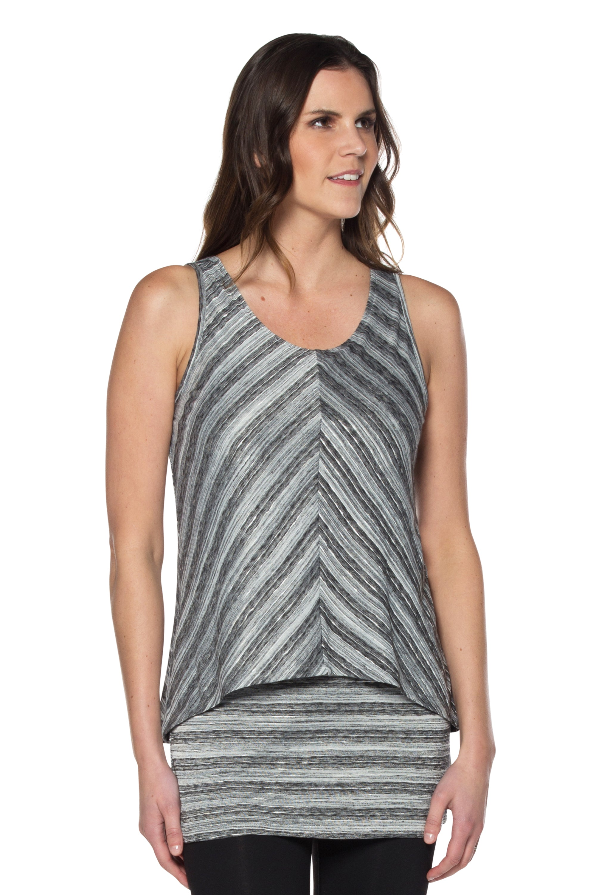 Striped Metallic Sheen Double Layered Tunic Top