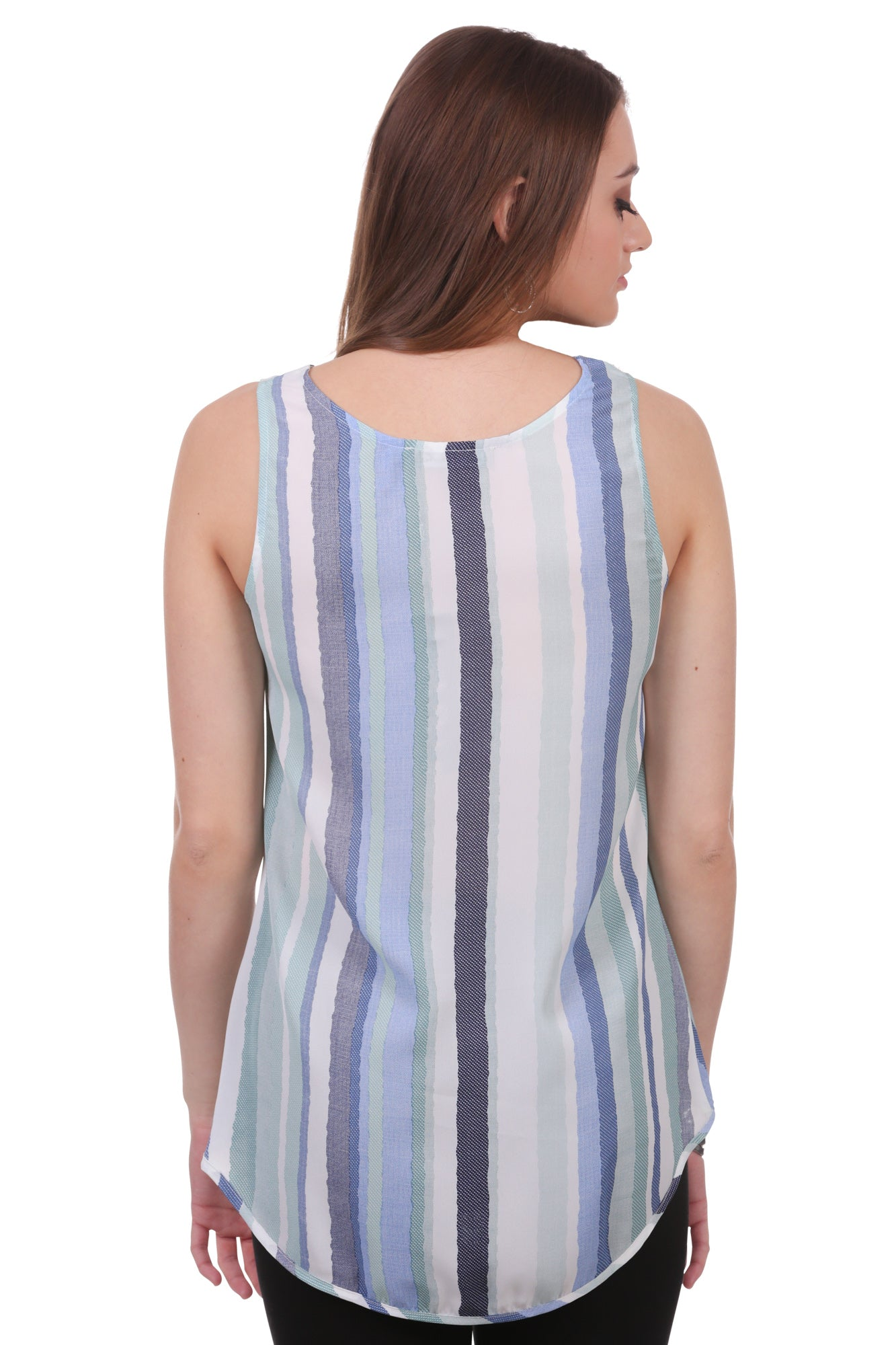 Striped High Low Pleated Tank