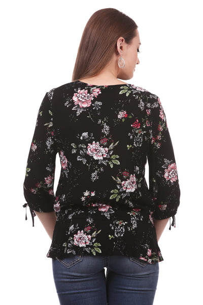 Floral Peplum Top with Ties