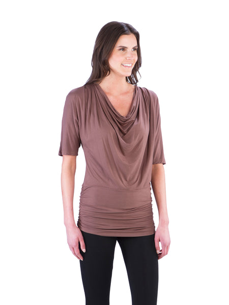 Cowl Neck Ruched Top with Half Sleeves, Brown Top, Coco Top, Beige Top, Taupe Top