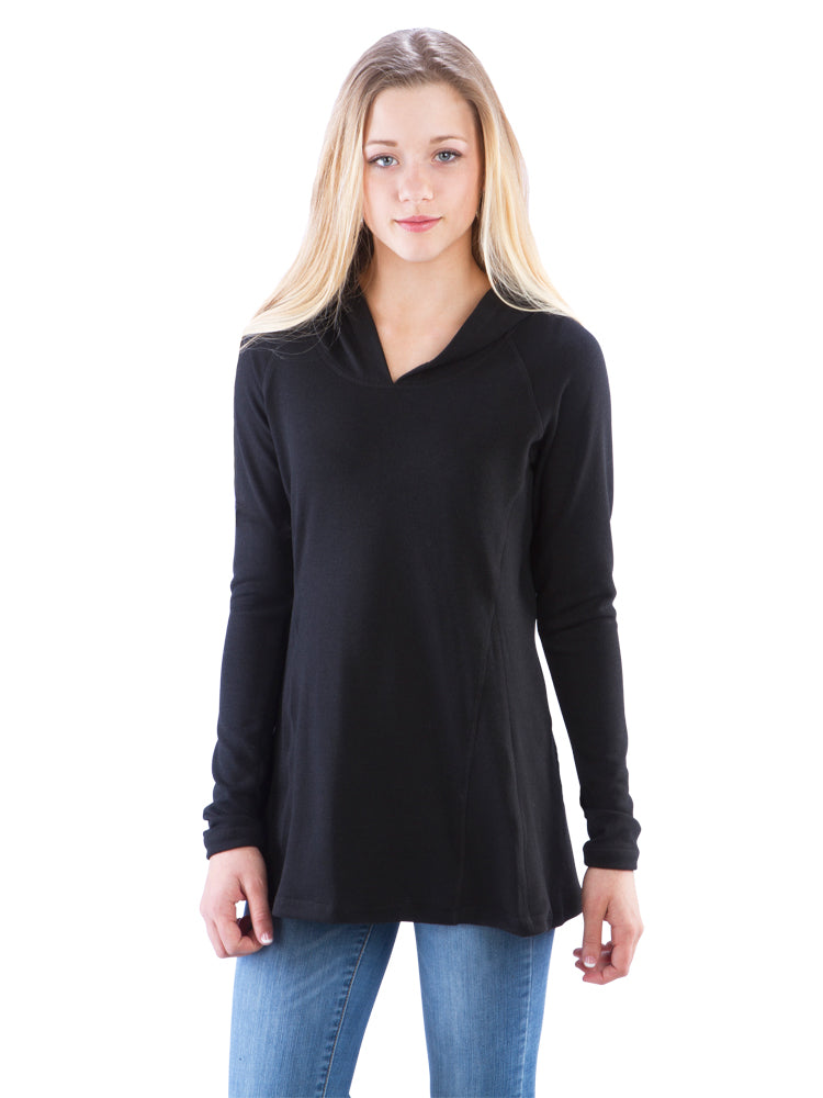 Ruched Back Hoodie with Long Sleeves and Top Stitching- Black Top