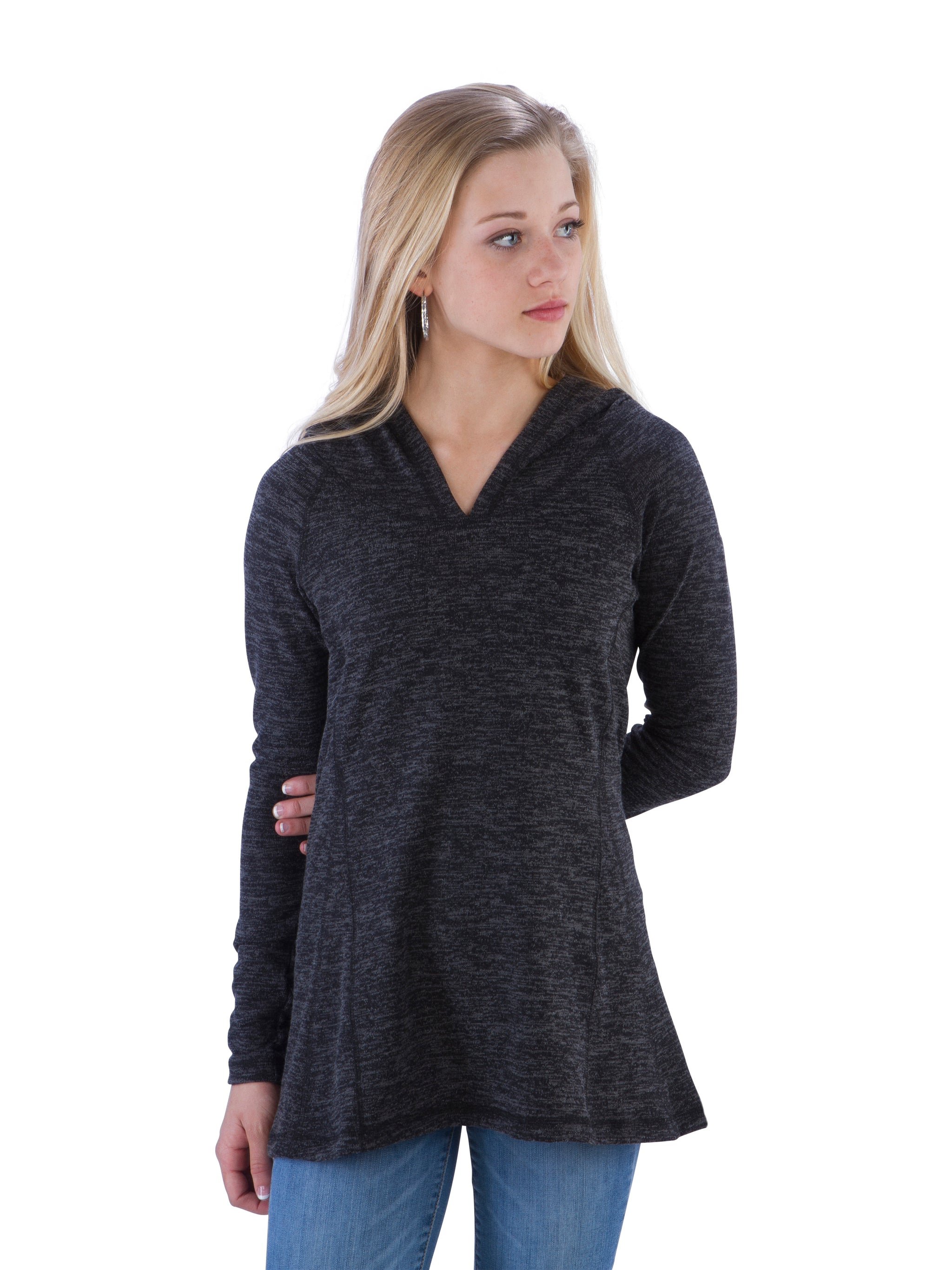 Ruched Back Hoodie with Long Sleeves and Top Stitching