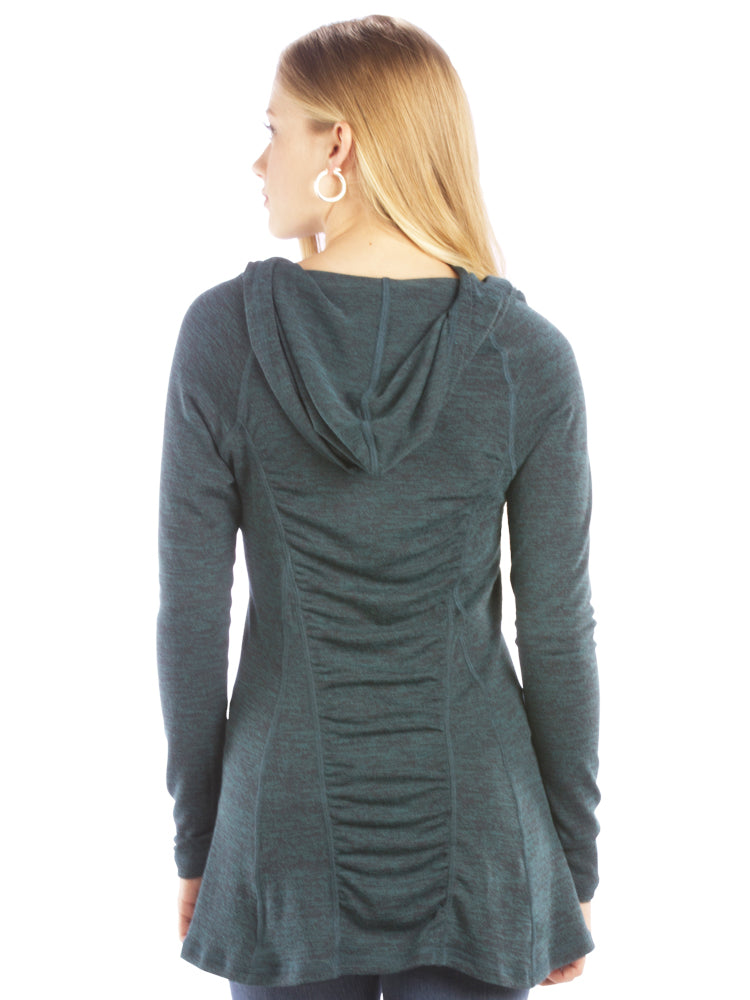 Ruched Back Hoodie with Long Sleeves and Top Stitching - Green Top