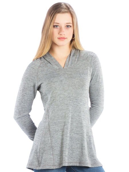 Ruched Back Hoodie with Long Sleeves and Top Stitching - Heather Grey Top