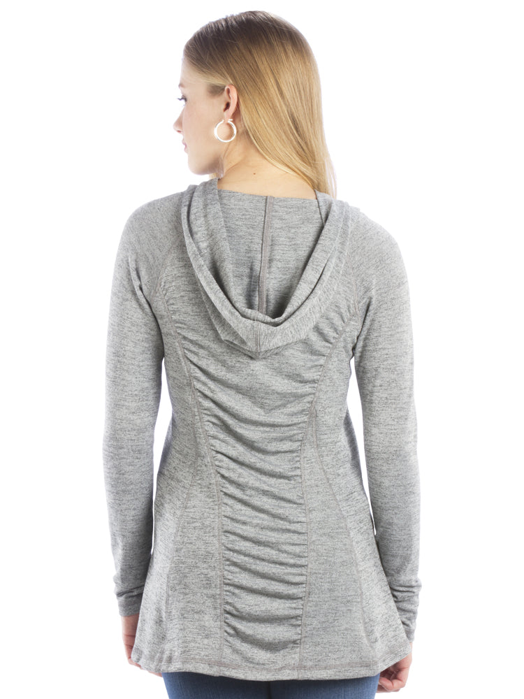 Ruched Back Hoodie with Long Sleeves and Top Stitching-Heather Gray Top
