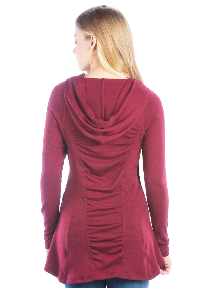 Ruched Back Hoodie with Long Sleeves and Top Stitching- Maroon Top