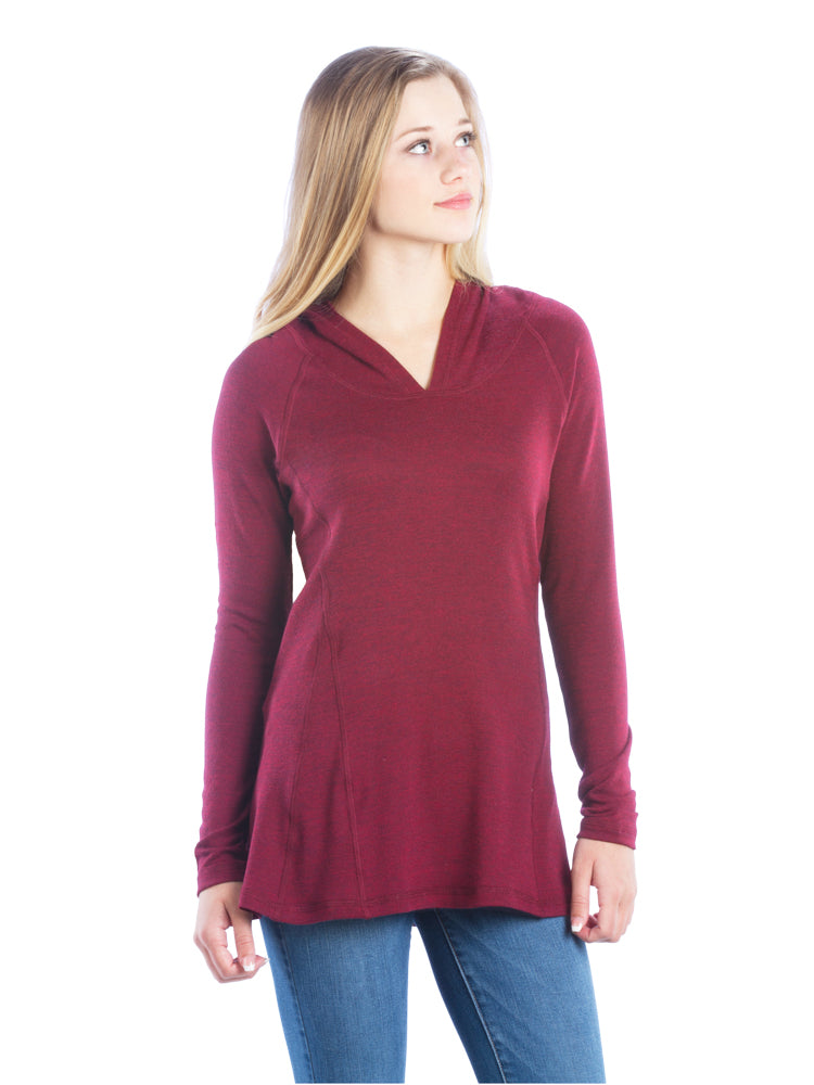 Ruched Back Hoodie with Long Sleeves and Top Stitching - Maroon Top