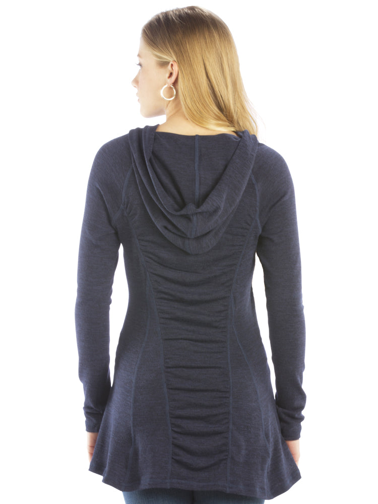 Ruched Back Hoodie with Long Sleeves and Top Stitching - Navy Top