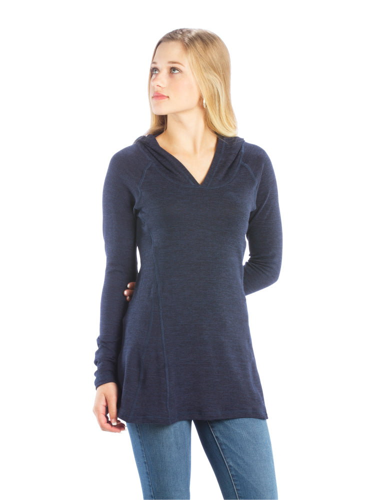 Ruched Back Hoodie with Long Sleeves and Top Stitching- Navy Top