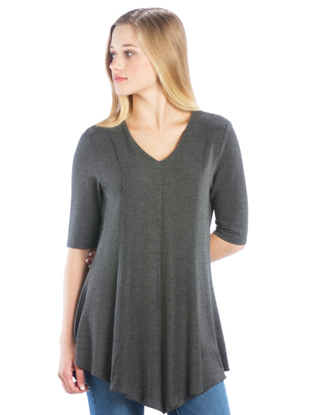 Neesha Womens V-Neck Swing Tunic in Charcoal