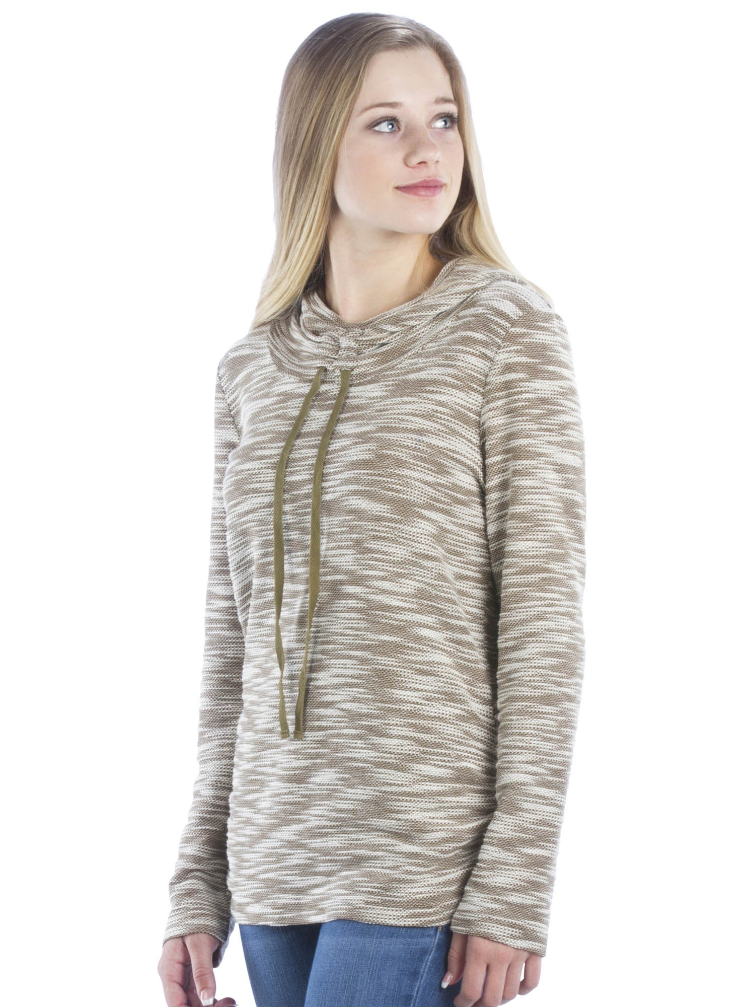 Heather Cowl Neck Athleisure Hoodie With Drawstrings