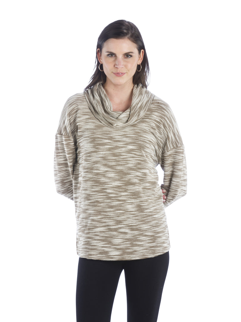 Heather Cowl Neck Top with Dolman Sleeve, Brown Top